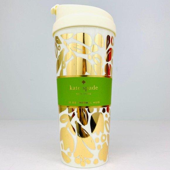 KATE SPADE Golden Floral Thermal Mug 16oz NWT
